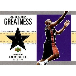 Signed Russell Bryon Utah Jazz Bryon Russell 200203 Upper Deck Uniform Greatness Unsigned Basketbal
