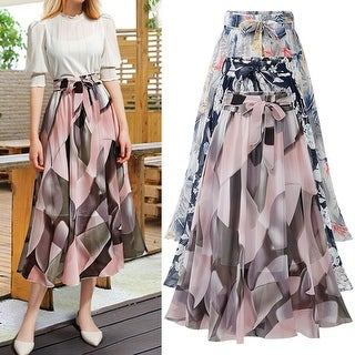Link to Chiffon Skirt Women's Summer Mid-Length Floral High Waist Similar Items in Skirts