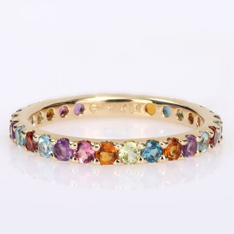 Miadora 10k Yellow Gold Multi-Color Gemstone Stackable Full-Eternity Band Ring