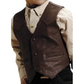 Roper Western Vest Boys Kids Leather Brown 02-094-0510-0502 BR