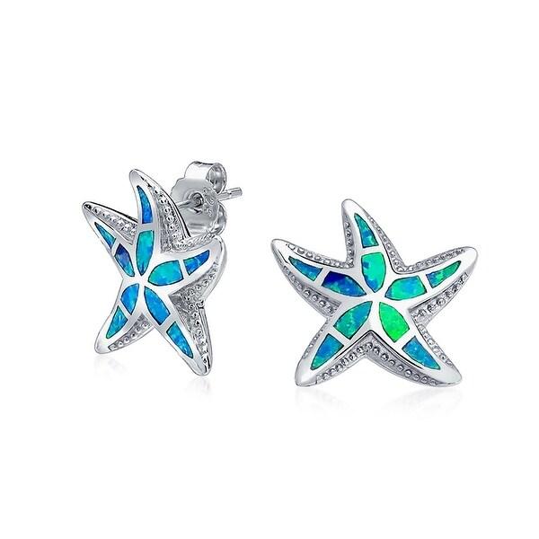 6fbfd3b80 Nautical Hawaiian Beach Starfish Blue Created Opal Inlay Starfish Stud  Earrings for Women 925 Sterling Silver