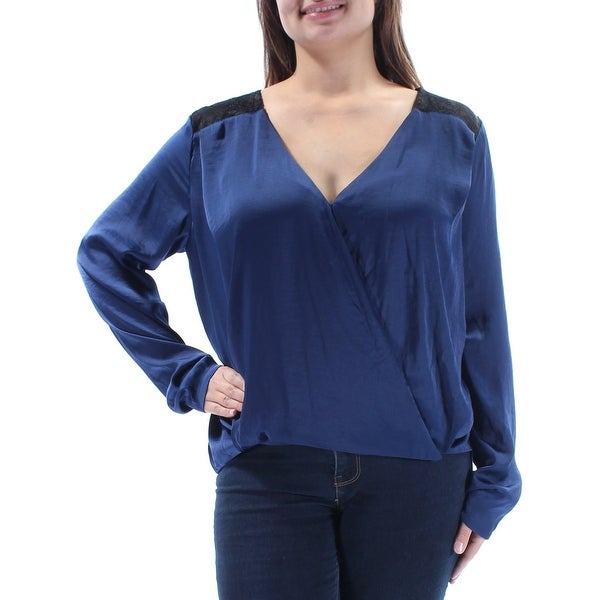 Shop GUESS Womens Navy Lace Long Sleeve V Neck Blouse Top Size  XL - Free  Shipping On Orders Over  45 - Overstock - 21796709 453d17f9e