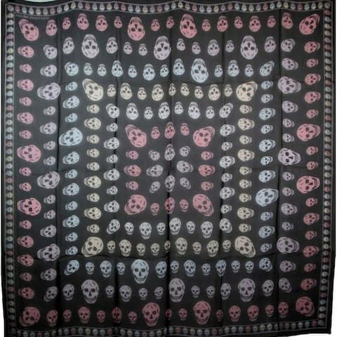 Alexander McQueen Women's Black Chiffon Silk Multiskull Box Print Shawl 496827 1072 - One Size