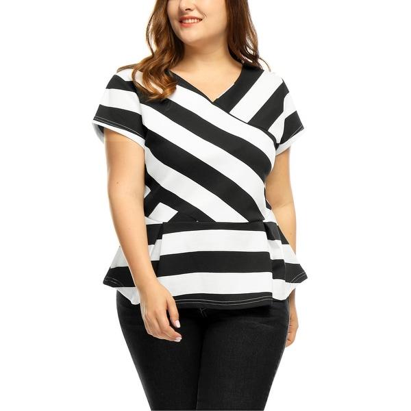 Allegra K Women's Plus Size Striped V Neck Top