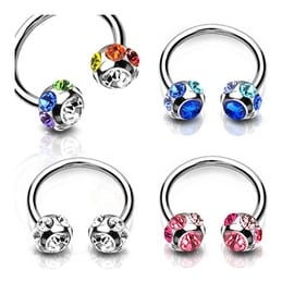 """Surgical Steel Circular Horseshoes with 7-Gem Paved 6mm Balls - 14GA 1/2"""" Long (6mm Ball) (Sold Ind.)"""