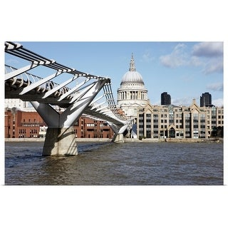"""St Paul's Cathedral and Millennium Bridge."" Poster Print"
