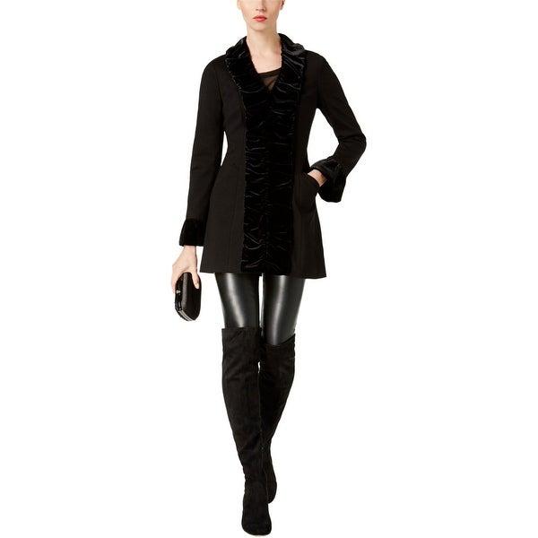 I-N-C Womens Velvet Ruffle Coat, black, Large. Opens flyout.