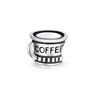 Coffee Lover Cup Latte Travel Mug Charm Bead For Women For Teen 925 Sterling Silver Fits European Charm Bracelet