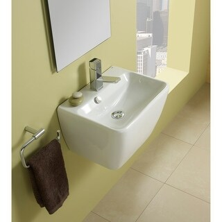 """Bissonnet 27075 Emma 17-7/10"""" Bathroom Sink Wall Mount with Overflow, Single Faucet Hole, and Chrome Plated Trim - White"""