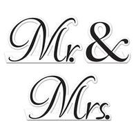 Club Pack of 36 Black and White Mr. & Mrs. Decorative Wedding Table Cards