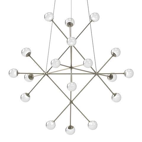 Sonneman Proton Beta Satin Nickel LED Pendant with White Crushed Glass