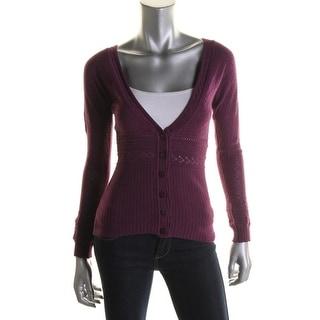 Catherine Malandrino Womens Pointelle Button Front Cardigan Sweater - S