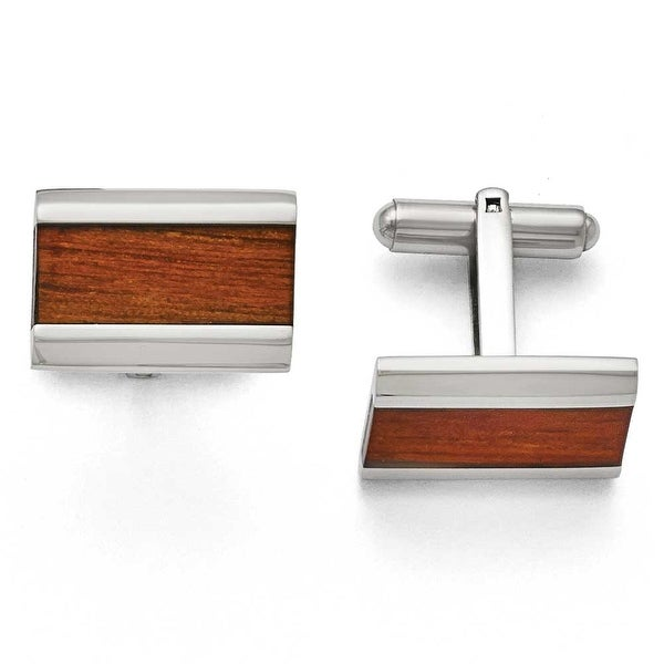 Chisel Stainless Steel Polished Red Wood Inlay Enameled Cuff Links