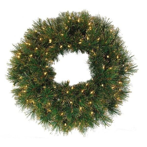 "36"" Pre-Lit Tattinger Long Needle Pine Artificial Christmas Wreath - Clear - green"