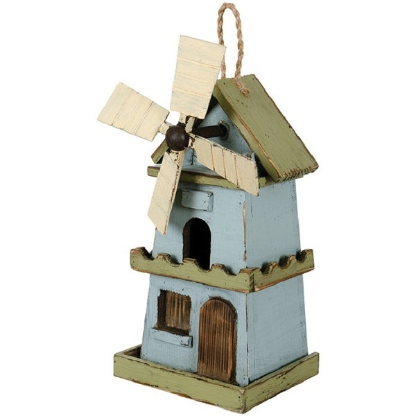 """11.50"""" Blue and Green Windmill Cottage Birdhouse - N/A"""
