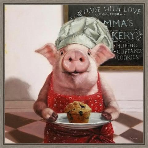 Pinkies Bakery (Pig) by Lucia Heffernan Framed Canvas Art