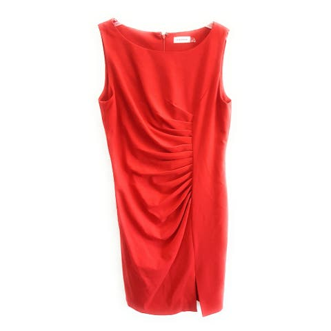 Calvin Klein Women's Sleeveless Sheath Mock Wrap Dress, Red, 12