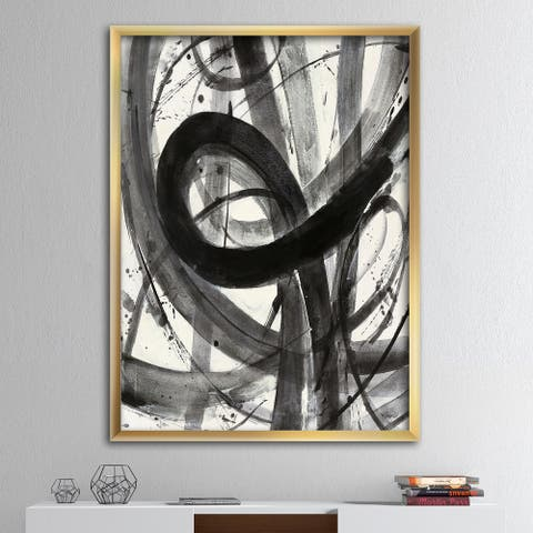 Designart 'Black and White Minimalistic Painting' Modern & Transitional Premium Framed Art Print