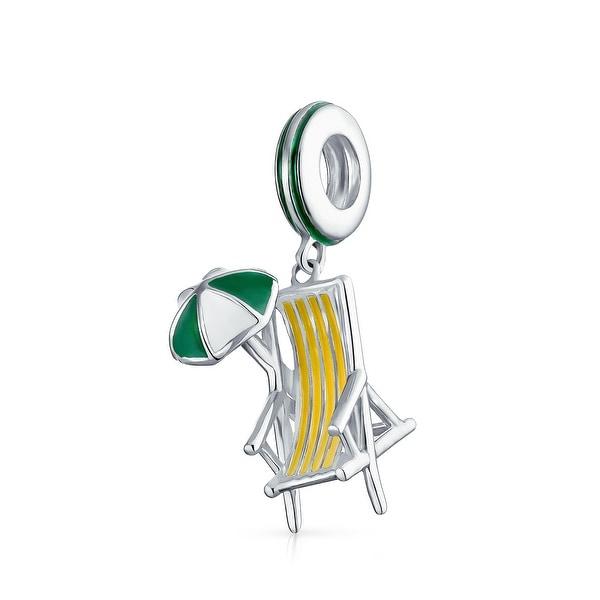 Beach Chair Umbrella Charm 925 Sterling Silver Bead Fit European Brand Charms