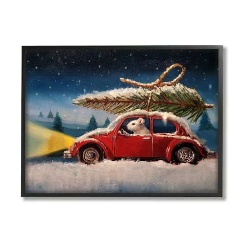 Stupell Industries Mouse Driving Through Snow Winter Holiday Tree Framed Wall Art - Multi-Color