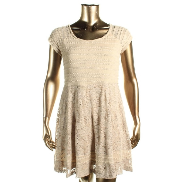 NY Collection Womens Petites Casual Dress Lace Raglan Sleeves
