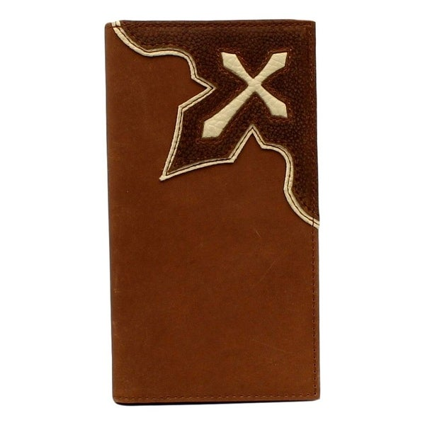Nocona Western Wallet Mens Rodeo Leather Inlay Cross Brown - One size