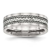 Stainless Steel Satin & Polished with Silver Center Inlay Ring (7.2 mm) - Sizes 8 - 13