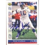 Kent Graham New York Giants 1993 Upper Deck Autographed Card Rookie Card This item comes with a c