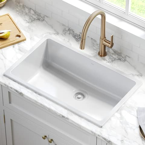 KRAUS Turino Dual Drop-In Undermount Fireclay Single Bowl Kitchen Sink