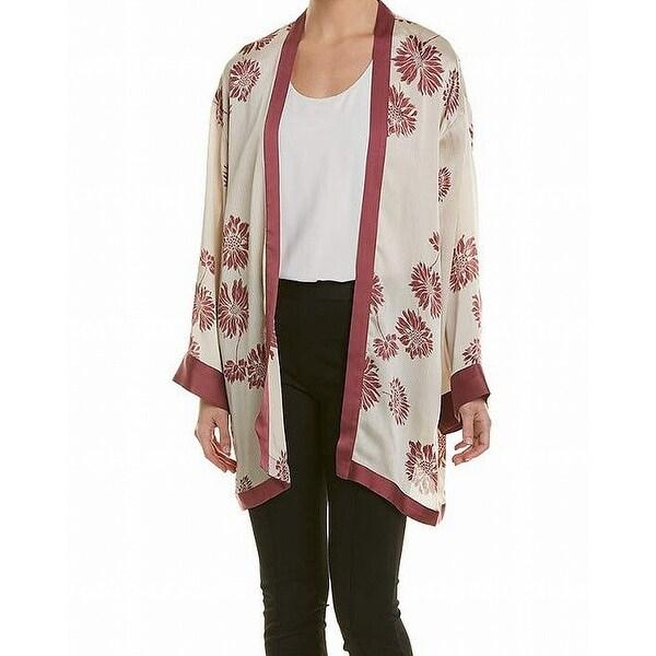 Vince Camuto White Women's Size XS Floral Print Kimono Jacket