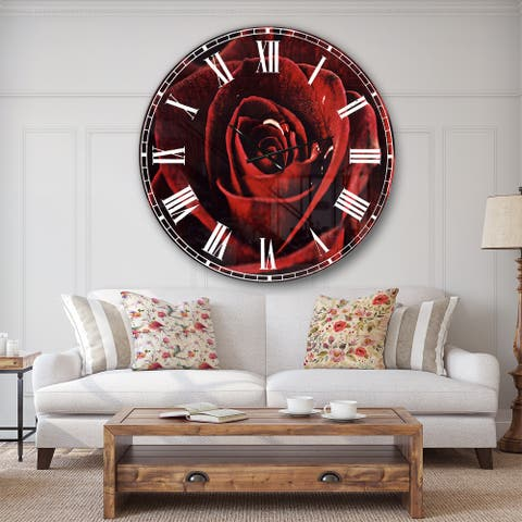 Designart 'Red Rose with Raindrops on Black' Flowers Large Wall CLock
