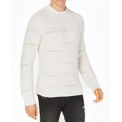 INC White Ivory Mens Size Large L Crewneck Vintage Knitted Sweater