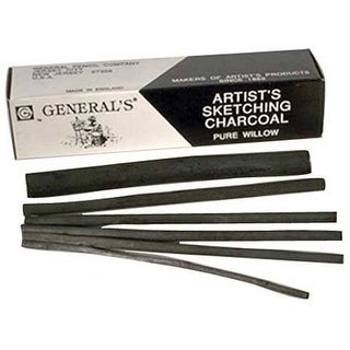 General Pencil - Artist's Sketching Charcoal - Thick, 10/Box
