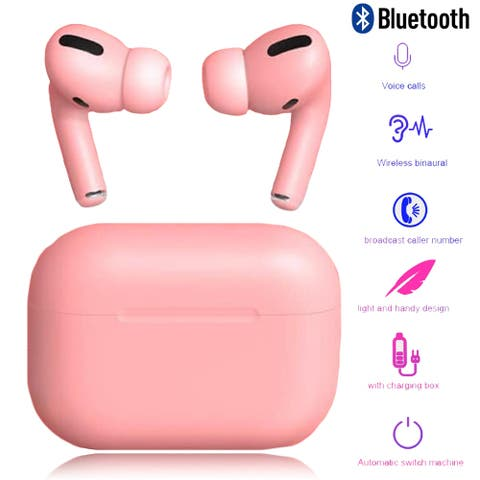 TWS Sport Wireless Earbuds with Physical Noise Cancellation Silicone Ear Tips, Magnetic Charging Case, Rose Pink
