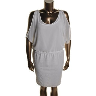 NY Collection Womens Plus Crepe Cold Shoulder Cocktail Dress