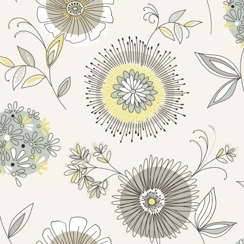 Brewster 2535-20682 Maisie Green Floral Burst Wallpaper