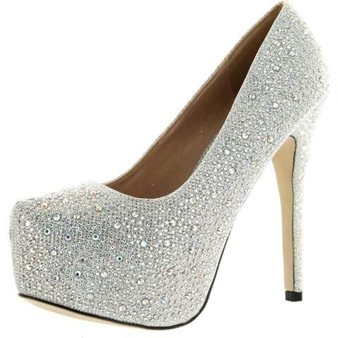 Eye Candie Womens Celine-85W Shiny Platform Pumps Shoes