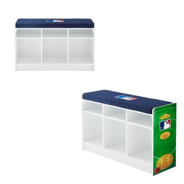 Cubeits 3 Cube Storage Bench MLB Baseball Logo   White