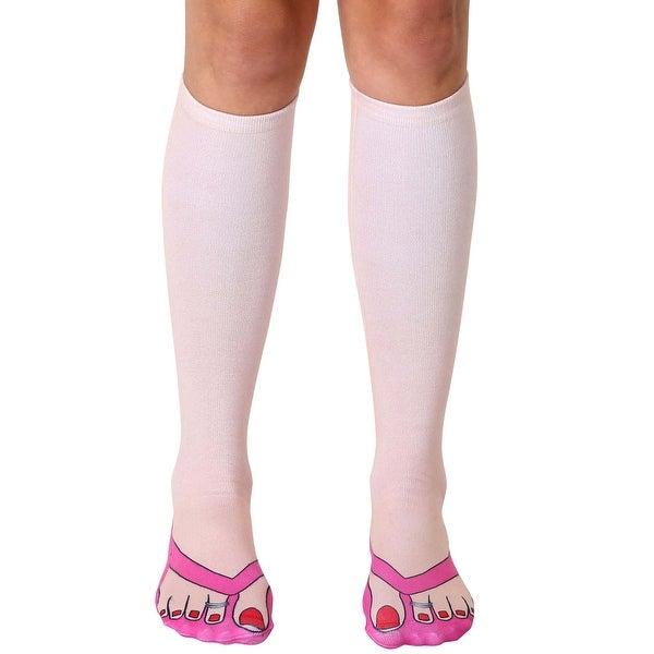Flip Flops (Pale) Photo Print Knee High Socks - Pink