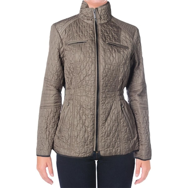 Laundry by Shelli Segal Womens Petites Packable Coat Quilted Zip Front