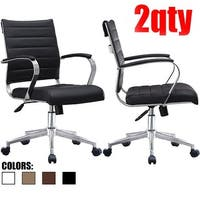2xhome - Set of Two (2) Modern Mid Back Ribbed PU Leather Swivel Tilt Adjust Cushion Chair Task Executive Manager Office Chairs