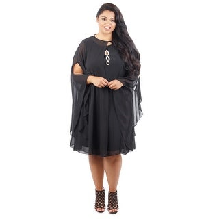 Two Piece Chiffon Dress with Cape