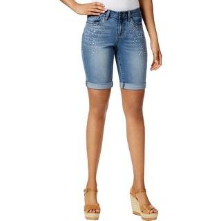 Earl Jean Womens Bermuda Shorts Denim Embellished