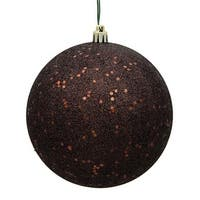 Chocolate Sequin Drilled Ball Ornament, 4 in. - 6 per Bag