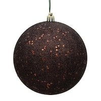 Chocolate Sequin Drilled Ball Ornament, 6 in. - 4 per Bag