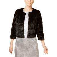 Calvin Klein Womens Petites Cardigan Top Faux Fur Layering