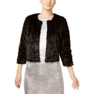Calvin Klein Womens Petites Cardigan Top Faux Fur Cropped