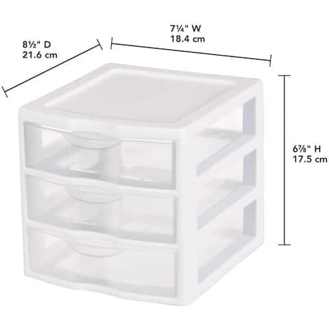 "Sterilite Small 3 Drawer Storage Unit-8.5""X7.25""X6.875"" White, Clear Drawers"