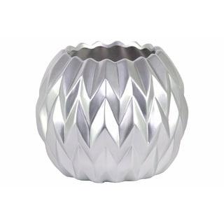 Ceramic Round Low Vase with Uneven Lip- Large- Silver- Benzara