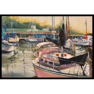 Carolines Treasures JMK1032JMAT Black Sails Sailboat Indoor & Outdoor Mat 24 x 36 in.